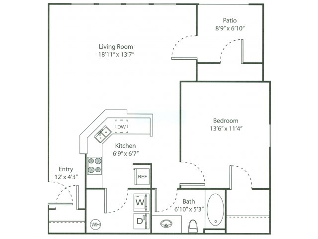 One Bedroom Floorplan | The Bluffs 2