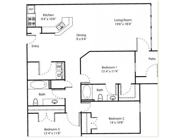Three Bedroom Floorplan | The Bluffs