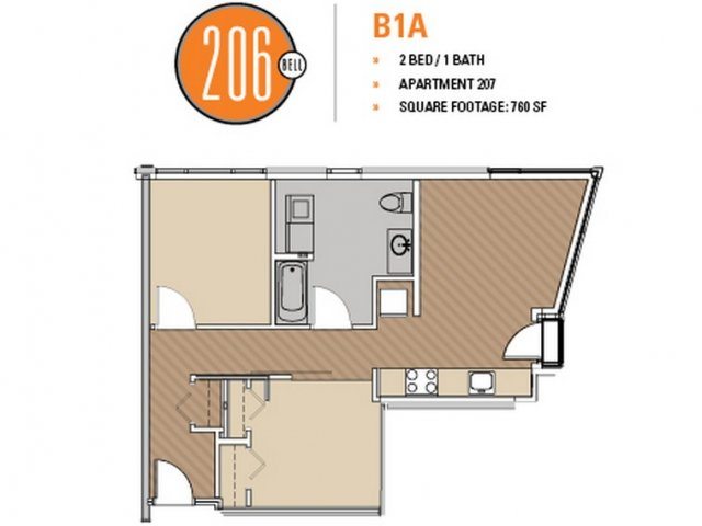 Floor Plan 1 | 1 Bedroom Apartments Seattle | 206 Bell
