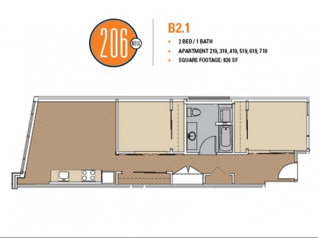 Floor Plan 3 | Apartments Seattle | 206 Bell