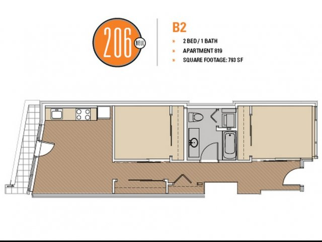 Floor Plan 2 | Apartment For Rent In Seattle | 206 Bell