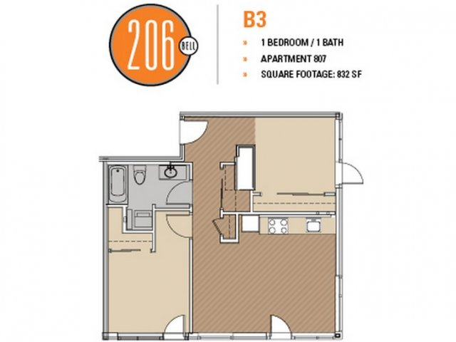 Floor Plan 4 | Luxury Apartments In Seattle | 206 Bell