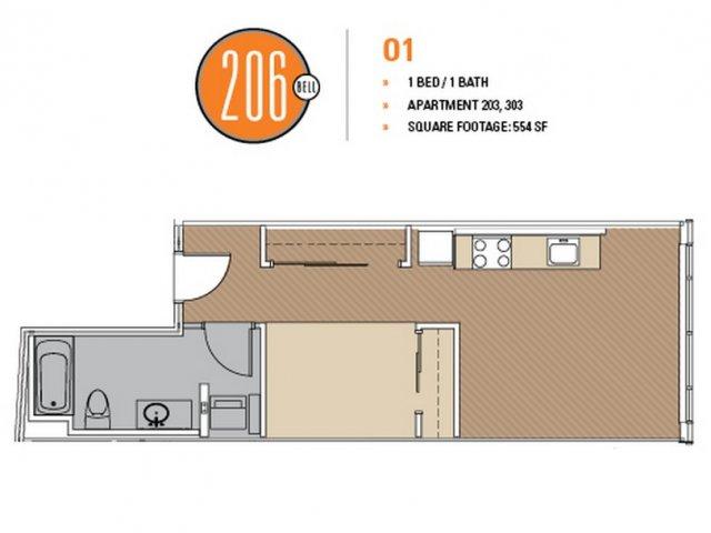 Floor Plan 5 | Studio Apt Seattle | 206 Bell