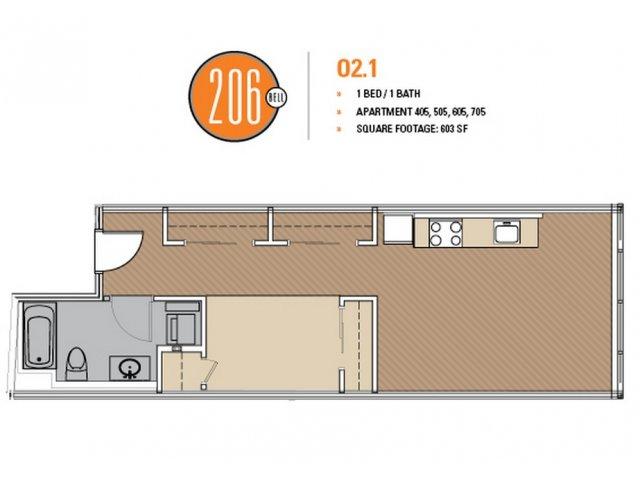 Floor Plan 6 | Luxury Apartments Seattle Washington | 206 Bell
