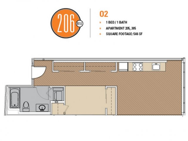 Floor Plan 7 | Seattle Apartments | 206 Bell