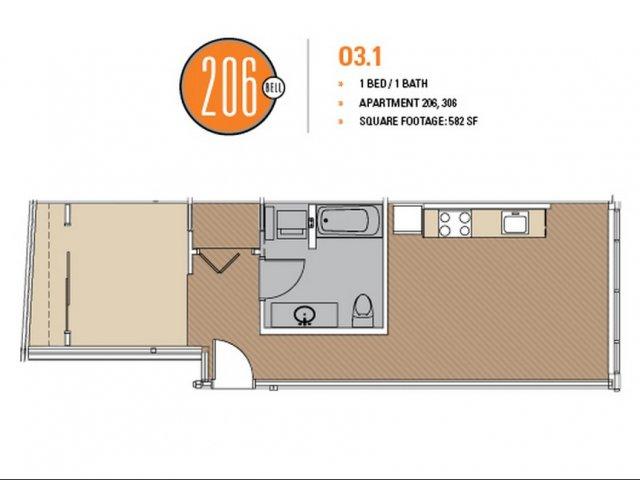 Floor Plan 8 | Luxury Apartments In Seattle Washington | 206 Bell