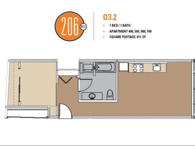 Floor Plan 9 | Apartments In Seattle | 206 Bell