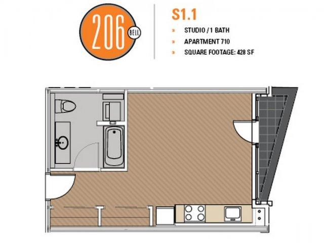 Floor Plan 11 | 1 Bedroom Apartments Seattle | 206 Bell