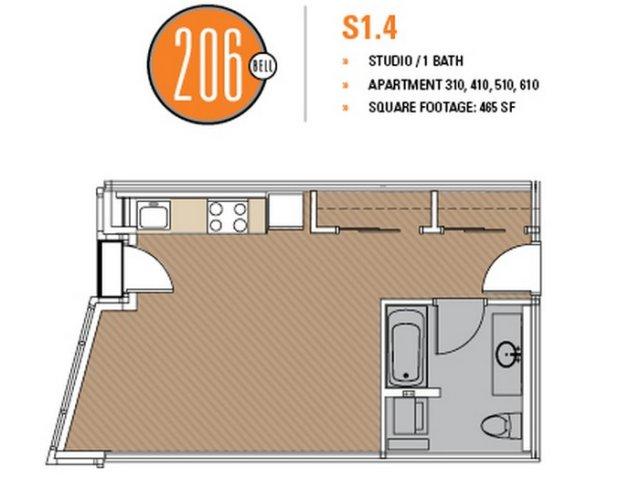 Floor Plan 14 | Luxury Apartments In Seattle | 206 Bell