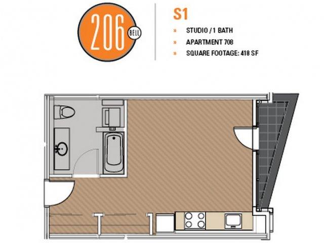 Floor Plan 15 | Studio Apt Seattle | 206 Bell