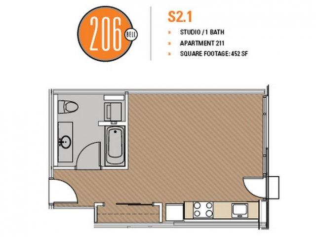 Floor Plan 16 | Luxury Apartments Seattle Washington | 206 Bell