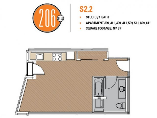 Floor Plan 17 | Seattle Apartments | 206 Bell