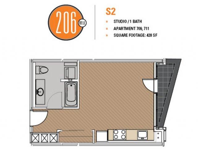 Floor Plan 18 | Luxury Apartments In Seattle Washington | 206 Bell