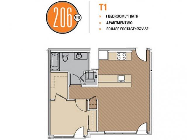 Floor Plan 25 | Studio Apt Seattle | 206 Bell