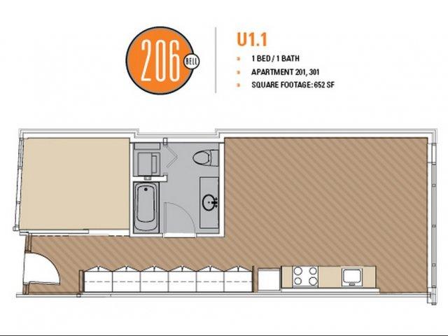 Floor Plan 26 | Luxury Apartments Seattle Washington | 206 Bell