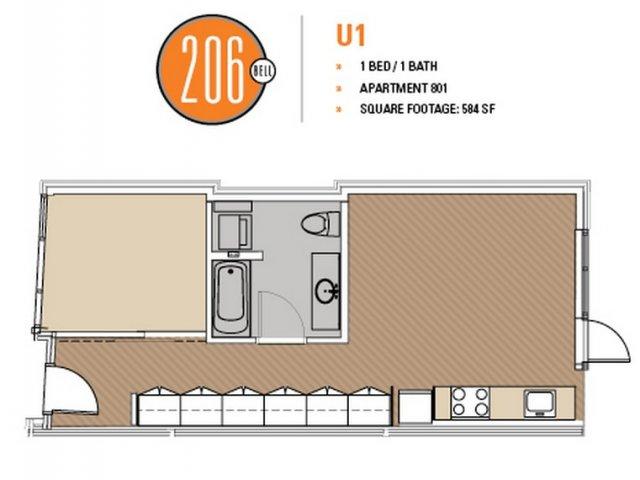 Floor Plan 28 | Luxury Apartments In Seattle Washington | 206 Bell