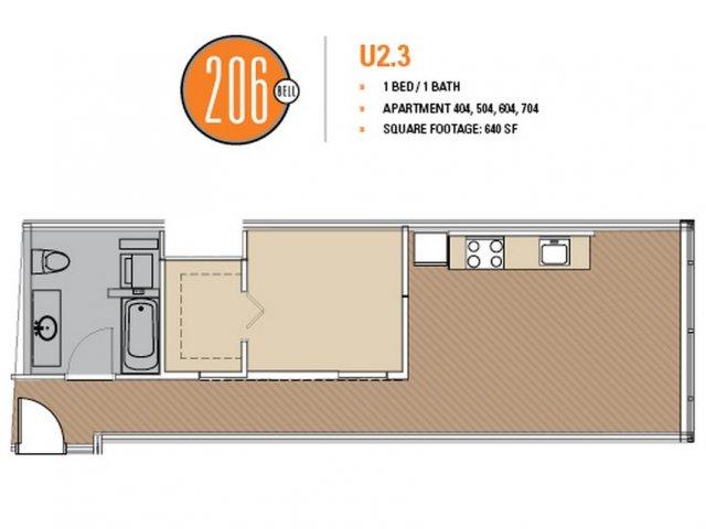 Floor Plan 31 | 1 Bedroom Apartments Seattle | 206 Bell