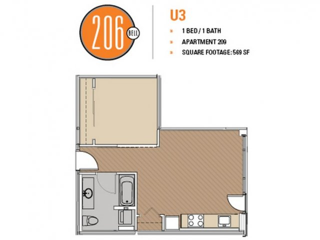 Floor Plan 33 | Apartments Seattle | 206 Bell