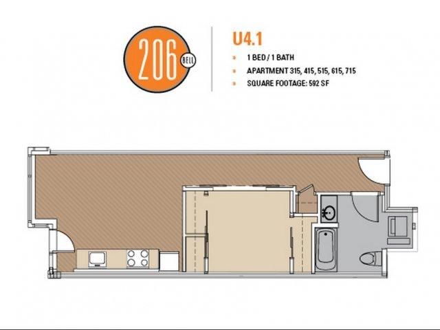Floor Plan 34 | Luxury Apartments In Seattle | 206 Bell