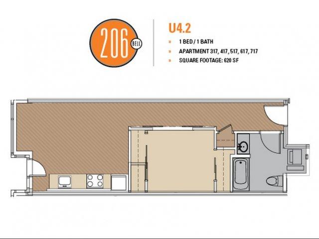 Floor Plan 35 | Studio Apt Seattle | 206 Bell