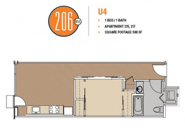 Floor Plan 36 | Luxury Apartments Seattle Washington | 206 Bell