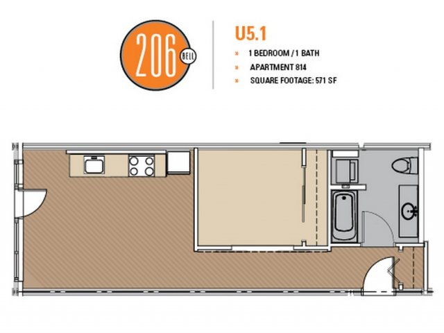 Floor Plan 37 | Seattle Apartments | 206 Bell