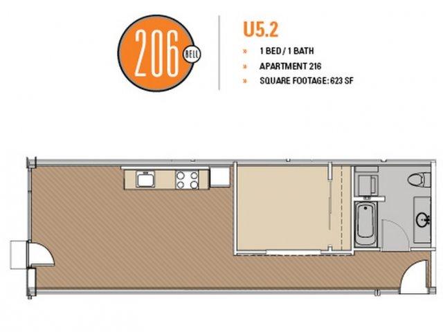 Floor Plan 38 | Luxury Apartments In Seattle Washington | 206 Bell