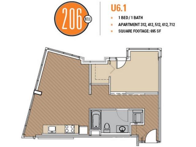 Floor Plan 41 | 1 Bedroom Apartments Seattle | 206 Bell