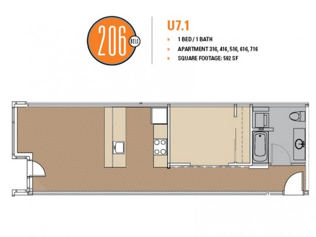 Floor Plan 43 | Apartments Seattle | 206 Bell