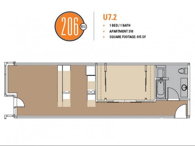 Floor Plan 44 | Luxury Apartments In Seattle | 206 Bell