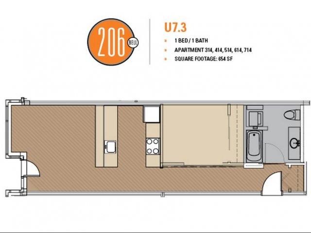 Floor Plan 45 | Studio Apt Seattle | 206 Bell