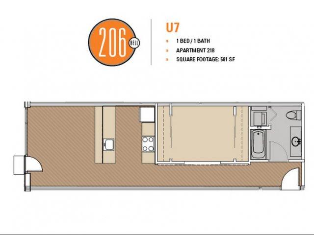Floor Plan 46 | Luxury Apartments Seattle Washington | 206 Bell