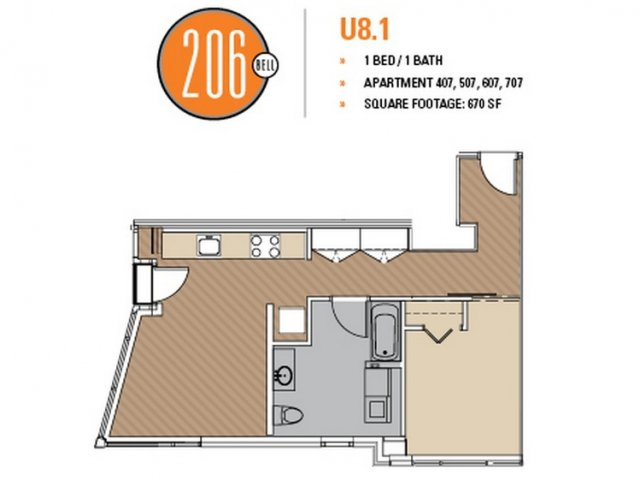Floor Plan 47 | Seattle Apartments | 206 Bell