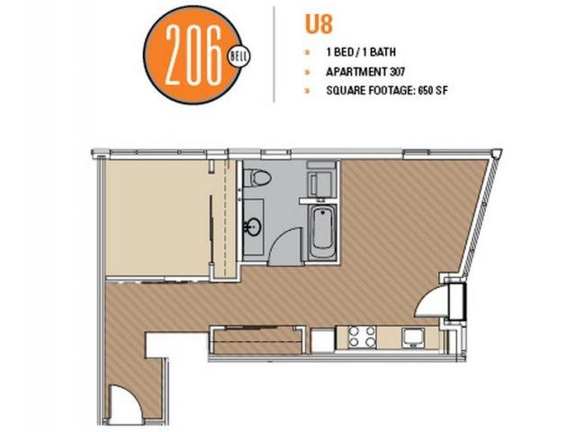 Floor Plan 48 | Luxury Apartments In Seattle Washington | 206 Bell