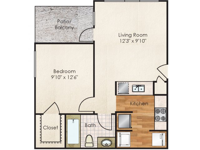 1 Bdrm Floor Plan   1 Bedroom Apartments In Boise   Lodge at Maple Grove. Floor Plans   The Lodge at Maple Grove Apartments For Rent in