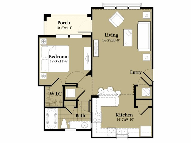 1 Bedroom Floor Plan | Luxury Apartments In Orlando Florida | Sanctuary at Eagle Creek