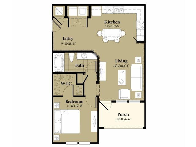 1 Bdrm Floor Plan | Orlando Apt | Sanctuary at Eagle Creek