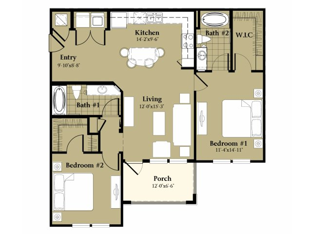 2 Bedroom Floor Plan | Luxury Apartments Orlando Florida | Sanctuary at Eagle Creek
