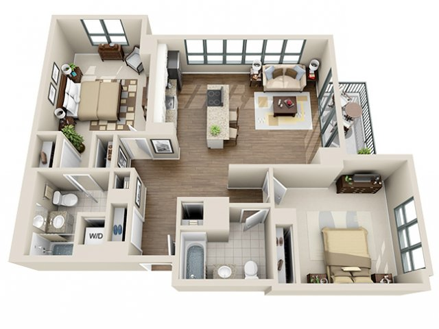 For The 2 Bedroom 2 Bath / 01 02 Floor Plan.