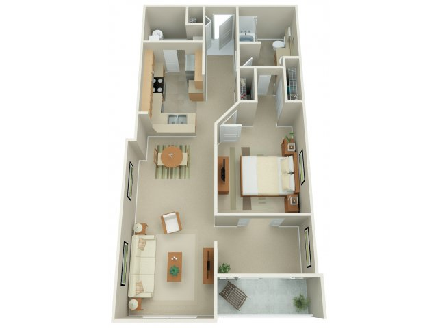 One Bedroom Floor Plan | Apex 14