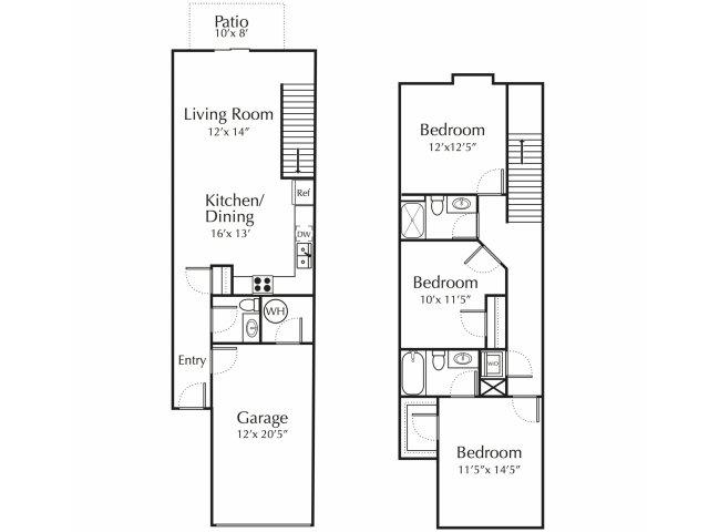 Floor Plan 1 | Junction City Apartments | Patriot Pointe