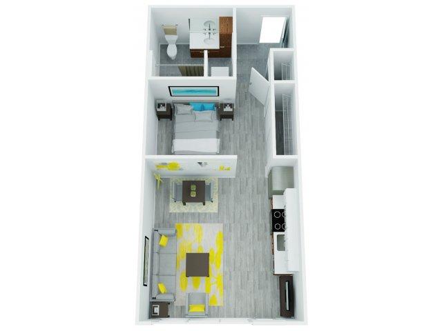 One Bedroom Floor Plan 2   The Addy