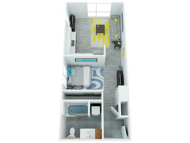 One Bedroom Floor Plan 4   The Addy