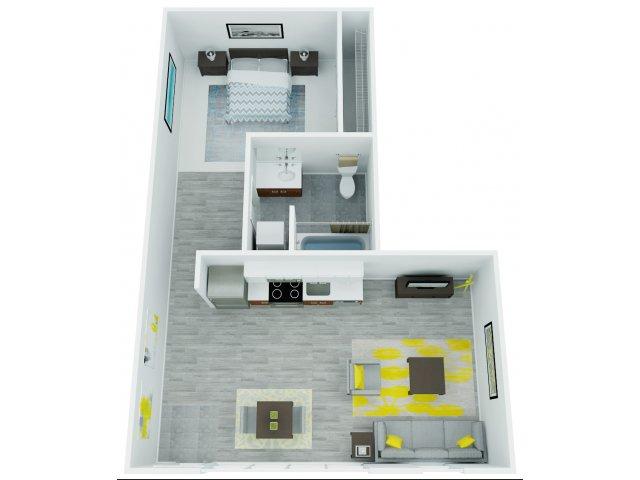 One Bedroom Floor Plan 8   The Addy