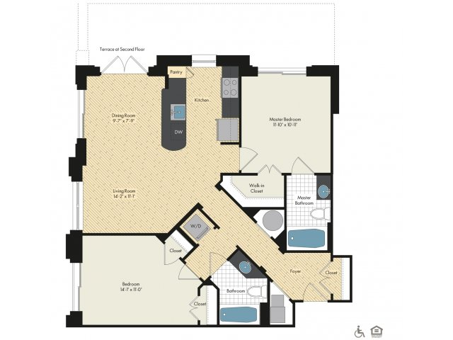 Floor Plan 38   Luxury Apartments In Bethesda MD   Upstairs at Bethesda Row