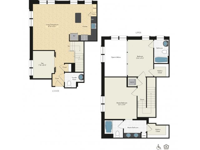 Floor Plan 30   Luxury Apartments In Bethesda   Upstairs at Bethesda Row