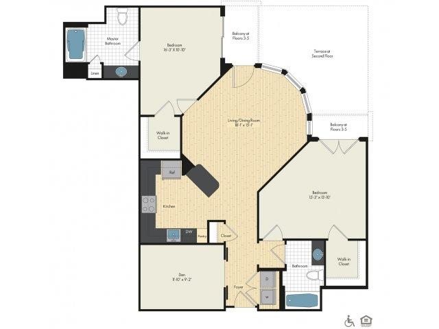 Floor Plan 31   Luxury Apartments In Bethesda Maryland   Upstairs at Bethesda Row
