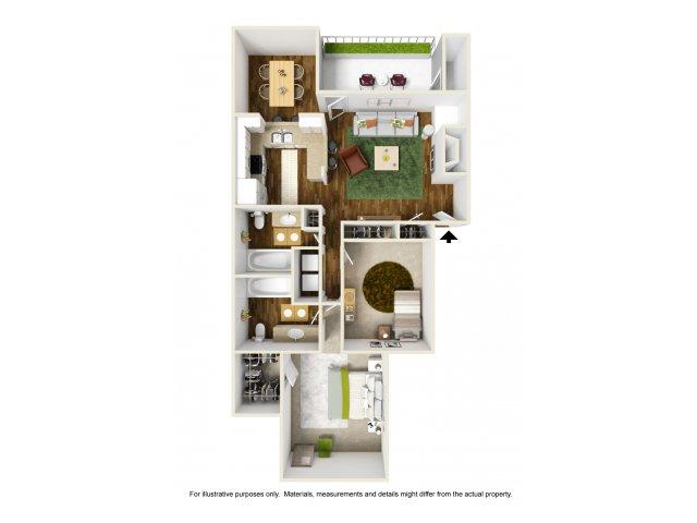 2 Bedroom Floor Plan | Rivercrest Meadows 2