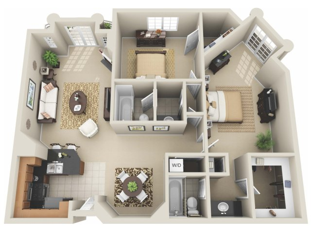 Two Bedroom Floor Plan | Apartments In Los Angeles | The Preston Miracle Mile