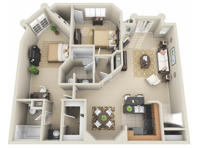 Captivating For The 2 Bedroom Floor Plan.